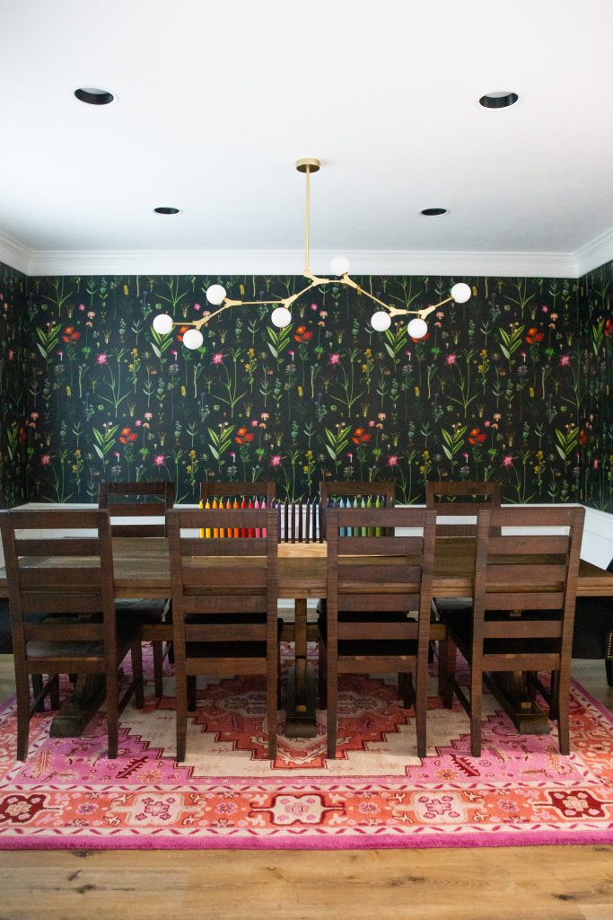 Dining Room Reveal with Black Floral Moody Wallpaper